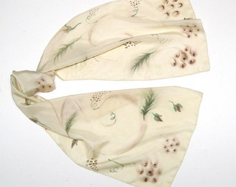 Hand Painted Scarf, Champagne Wrap, Beige Linen Tan, Scarf with Flowers, Unique Hand Dyed, Artisan Handmade, Hand Painted Silk, Jossiani.