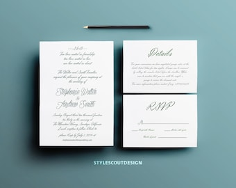 Printable Wedding Invitation - Script Suite, Wedding Invitation Suite