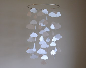 White Cloud Mobile // Nursery Mobile // Baby Mobile - Choose Your Colors