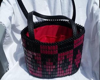 Black and purple handmade tote bag