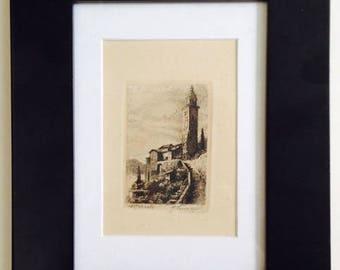 Vintage Engraving of Morcote, Switzerland
