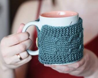 Coffee cup cozy Cup cozy Coffee cup sleeve Green cup sleeve Green cup cozy Coffee cozy Green mug cozy Tea cozy Handmade cozy Holiday gift