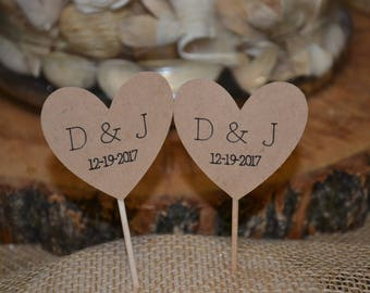 Rustic Personalized Heart Engagement/Anniversary/Wedding Cupcake Toppers