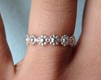 "Sterling Silver ""Daisy"" Embossed Stacking Ring - wear as a knuckle ring - custom made to order"