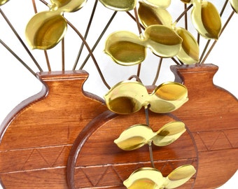 Teak and Brass Raindrop Leaves Tabletop Sculpture