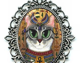 Egyptian Bast Cat Necklace Egypt Bastet Goddess Cat Cameo Pendant 40x30mm Gift for Cat Lovers Jewelry