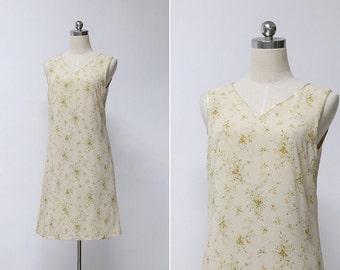 Vintage 90s Beige Garden Floral Sleeveless Dress | Grunge Small Floral Summer Festival Mini Dress | Sheath Dress M or L