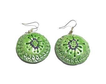Green earrings, Lily pad earrings, Round earrings ,Dangle earrings, Dot earrings