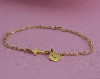 Small Gold Sideways Cross with Initial Bracelet -  Personalized Bracelet, 24K Gold Plated sideway cross, best friend, initial bracelet