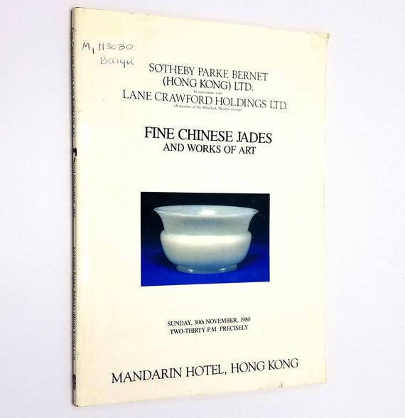 Fine Chinese Jades and Works of Art Sunday, 30th November, 1980 Sotheby Parke Bernet - Auction Catalog - Hong Kong