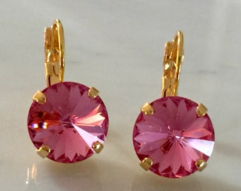 Rose Swarovski Crystal Earrings, Yellow Gold