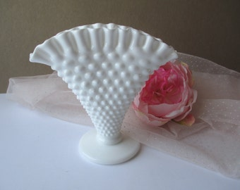 Vintage Fenton Milk Glass Hobnail Fan Vase - Wedding Decor