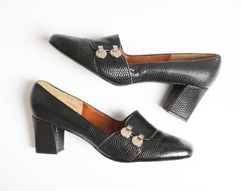 sz 8 | Deadstock Vintage 60's Mod Black Leather Faux Snakeskin Loafer Heel by Manor-Bourne for I.Magnin & Co.