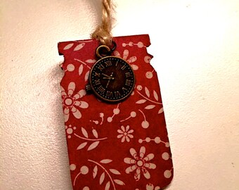 Red Floral and Vintage Clock Bookmark