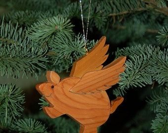 PIG FLYING Christmas ORNAMENT Carving