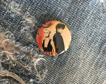 ROXETTE            1 inch pin back button, Roxette Music, 1980s Pop Music