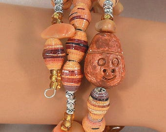 memory wire bracelet, paper beads from Uganda, orange, paper bead bracelet.