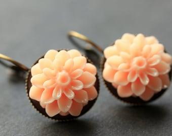 Pinky Peach Dahlia Flower Earrings. French Hook Earrings. Pink Peach Flower Earrings. Lever Back Earrings. Handmade Jewelry.