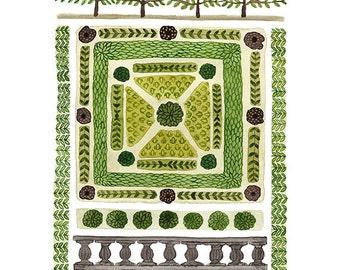 Knoten Sie, Garten-Nr. 3-Print, Giclée-Kunst-Druck, Frühling Garten, Aquarell reproduktionsdruck, pflanzlichen