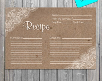 Lace Rustic Recipe Card INSTANT DOWNLOAD digital Recipe Card, Rustic Recipe Cards, also available professionally printed