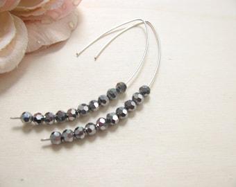 Sparkling earrings, Grey earrings, Crystal earrings, Minimal earrings, Bridal earrings, Almond earrings, Threader earrings, Hoop earrings