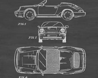 1990 Porsche 911 Convertible Patent - Patent Print, Wall Decor, Automobile Decor, Automobile Art, Sports Car, Porsche Decor, Porsche Patent