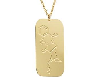 Cocaine molecule necklace - chemistry jewelry, personalized tag necklace chemistry necklace, molecule necklace custom molecule