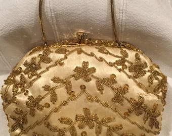 Vintage  beaded satin purse