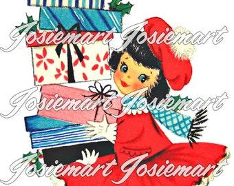Vintage Digital Download Christmas Gifts Shopping Girl Vintage Image Collage Large JPG and PNG