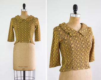 vintage 1950's blouse | mustard shirt | 40s 50s top | vintage yellow blouse