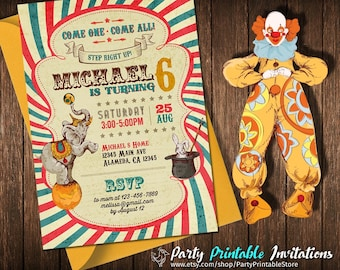 Vintage Circus Invitation, Circus Birthday Party, Big Top Party, Clown Party, Carnival Party, Elephant, Printable Birthday Party Invitation
