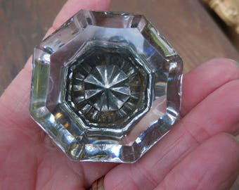 Vintage 1930s to 1940s Glass Clear/Gray Door Knob (1) Single Retro Heavy Glass Gold Tone Metal Repurpose/Reuse/Recycle
