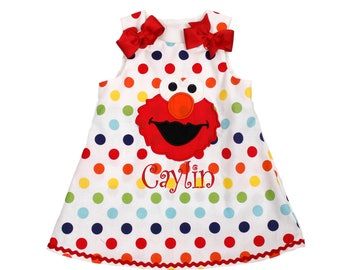 Girls Elmo Aline dress Sesame Street Elmo dress Elmo dress birthday girl dress girl applique Elmo Girl birthday dress girl name dress