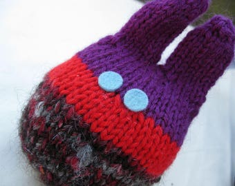 Gothy Lavender Bunny - Handspun, handknit sachet plushie