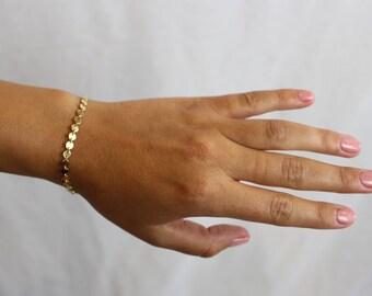 Disc Chain Bracelet | Layering Bracelet |Dainty Gold Bracelet | silver Bracelet | Minimalist  Bracelet| coin chain bracelet |dainty bracelet