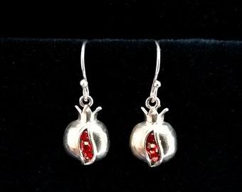 Pomegranate Earrings Granada, Sterling Silver Earrings, Zircon Earrings, Symbol of Abundance, Granada Symbol, Red Earrings, Made in Spain