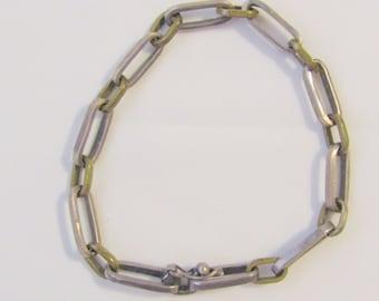 Vintage Sterling Silver And Brass Link Bracelet