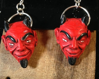 Red Devil Earrings, cheeky, drop, dangle, charm, diabolical, ceramic, handmade, hand painted, sassy