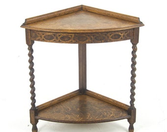 Antique Corner Table, Corner Shelf, End Table, Scotland 1910, B1013