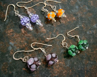 Glass Earrings 4 Color Choices, Lampworked Glass Bead Earrings, Glass Jewelry, Willow Glass, OOAK