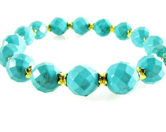 Turquoise Stretch Bracelet, Turquoise Faceted Bead Bracelet