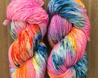 Hand Dyed Yarn  DK Weight Super soft 100 g   Utah Sunset