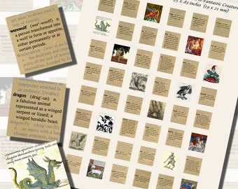 Fantasy Defined, Dictionary Definition Printables, SCRABBLE TILE SIZE (.75 x .83 Inches or 19 x 21 mm), 48 Images Total