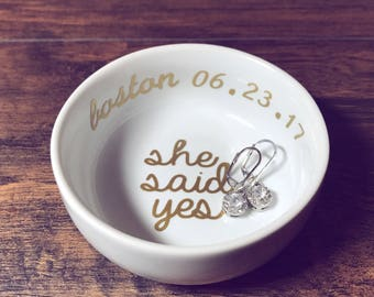 Trending Now - She Said Yes Ring Dish   Personalized Engagement Ring Dish   Bridal Shower Gift   Ring Holder   Engagement Gift