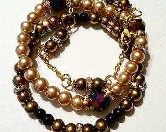 3Pc Handmade Gold Pearls & Hematite Beaded Bracelets