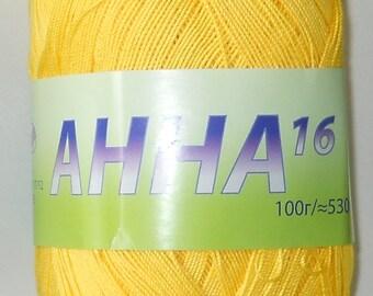 Crochet thread size 10, mercerized cotton, ANNA, 100g/ 579 yds #302 lt. yellow