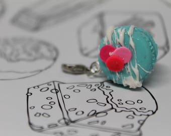 Confetti Birthday Cake Macaroon Charm/ Sweet Treat Bracelet Charm/ Fake Dessert Food/ Miniature Polymer Clay