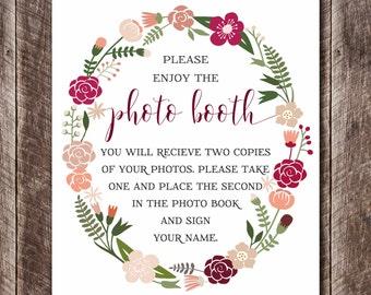 Wedding Photo Booth Printable - Wedding DIY - Wedding Decor - Printable