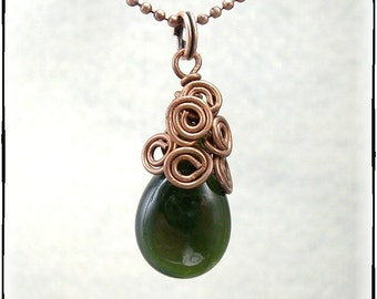 Medusa's Necklace - Artisan Lampwork Drop Bead Topped With Copper Swirls