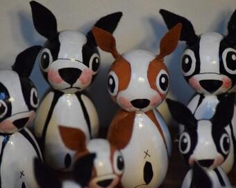 Boston Terrier, Kokeshi doll, handmade Boston terrier dog, Boston Terrier gifts, Peg dolls, wood boston terriers. Boston Terrier.